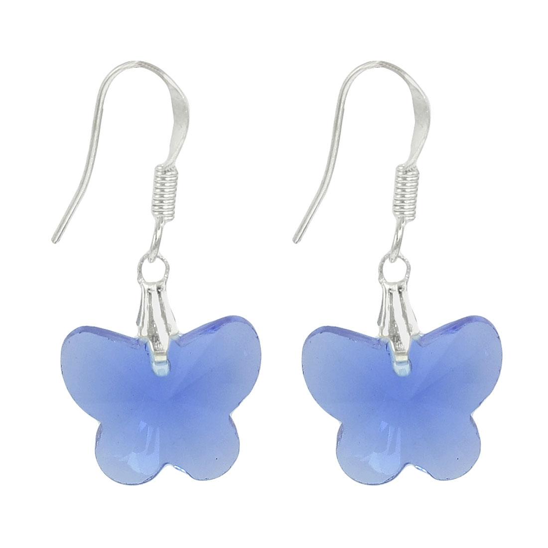 Lady 2 Pcs Clear Blue Plastic Crystal Butterfly Shape Dangle Earrings