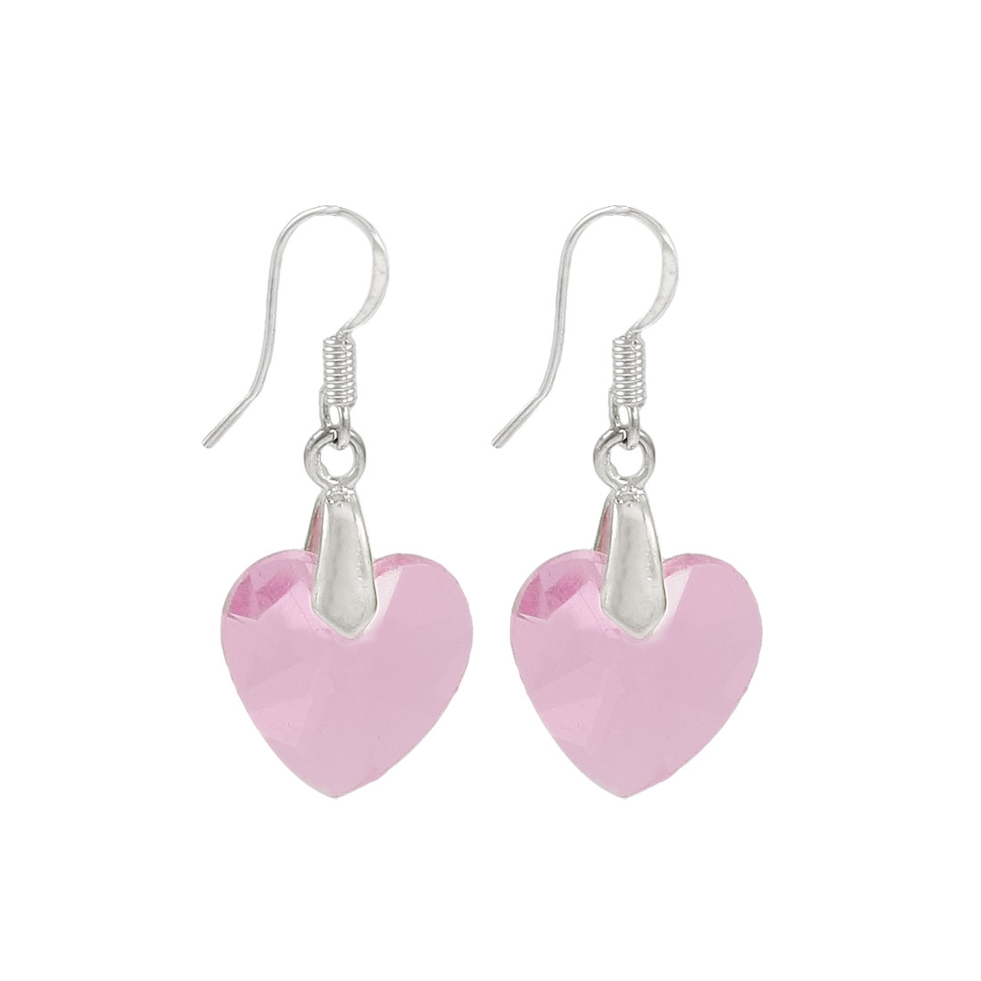 Plastic Crystal Heart Shape Pendant Dangling Earring Clear Pink Pair