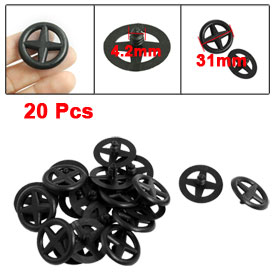 20 Pcs Wheel Head Hood Insulation Clip Plastic Rivet Fastener Black