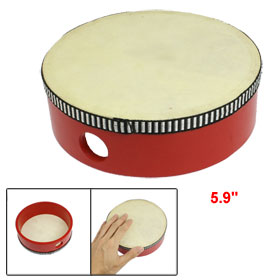 "5.9"" Dia Red Wooden Musical Instrument Jingling Timbrel Toy for Children"