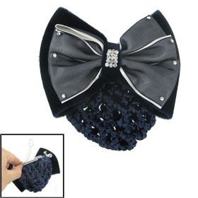 Polyester Flannel Two Layer Bowknot Barrette Hair Clip w Blue Snood Net