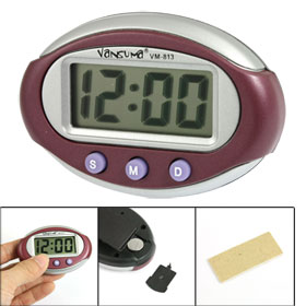 Burgundy Silver Tone Plastic Shell Digital Car Auto Clock w Black Bracket Stand
