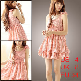 Women Dots Print Scoop Neck Bowknot Shoulder Chiffon Dress Pink XS