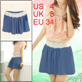 Lady Cornflower Blue Elastic Waist Crochet Decor Casual Skorts S