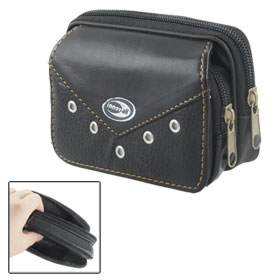 Black Faux Leather 2 Compartments Zipped Cell Phone Belt Bag Pouch