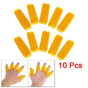 Yellow Brim Orange Elastic Finger Support Protector Sleeve 10 Pcs