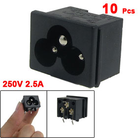10 x Black Plastic IEC320 Inlet C6 Power Adapter 250V 2.5A