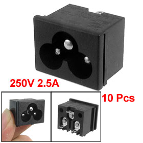 10 x Male Plug IEC320 C6 AC Power Socket Connector 2.5A 250