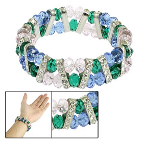 Women Rhinestone Accent Big Plastic Crystal Beads Elastic Bracelet