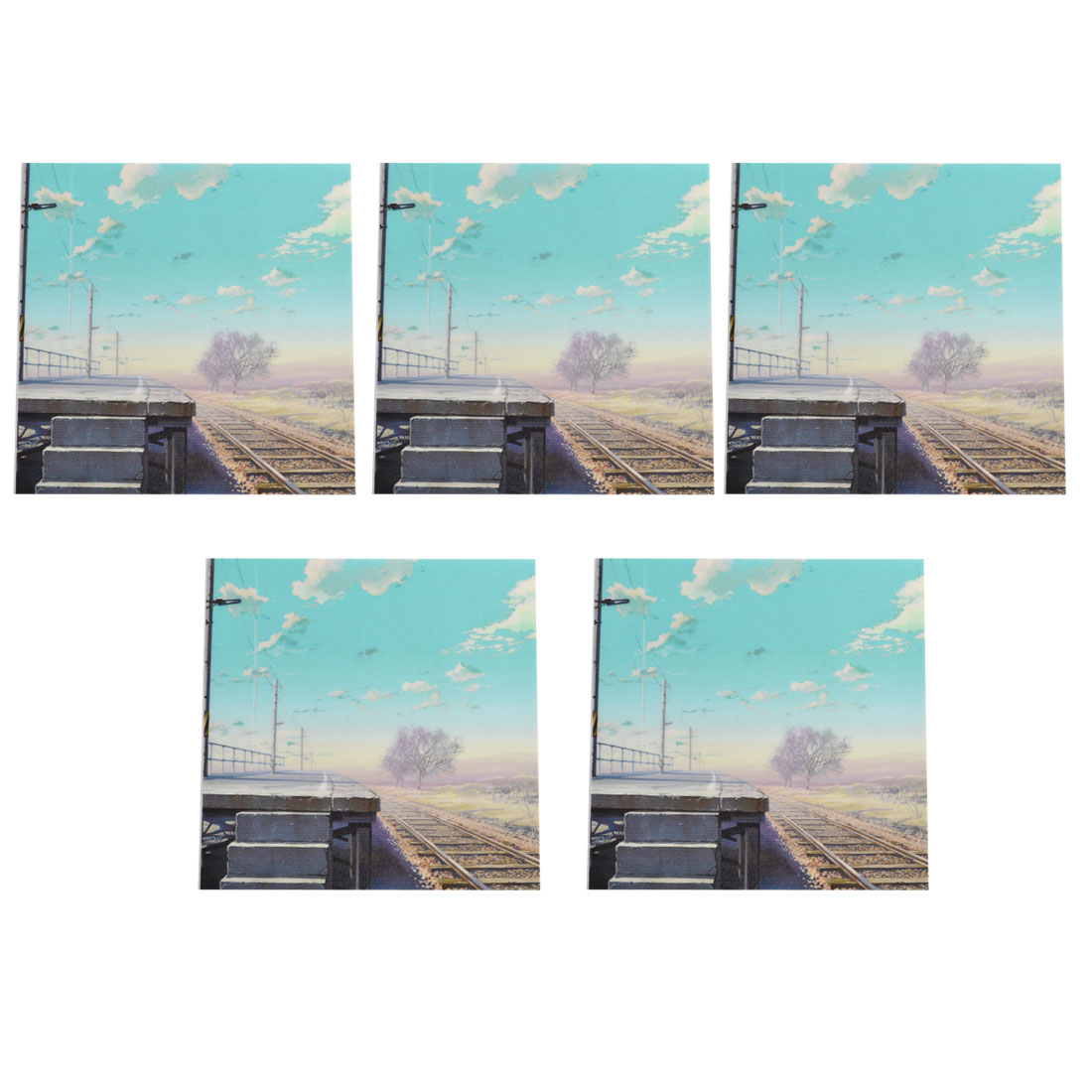 5 Pcs Blue Sky Railway Pattern Light Switch Wall Panel Stickers Decor