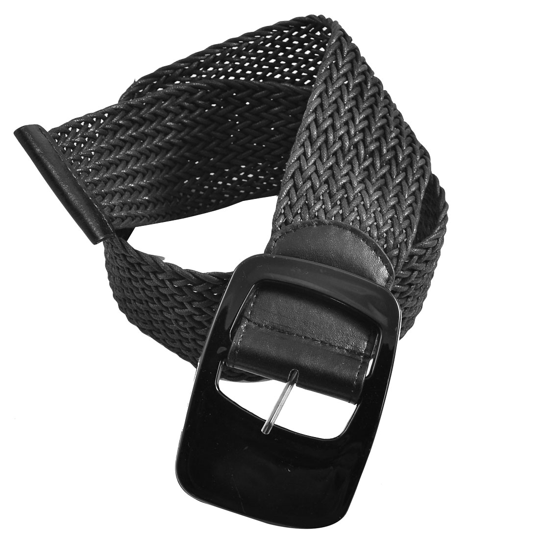 Women Single Pin Buckle Black Braided Adjustable Waist Belt