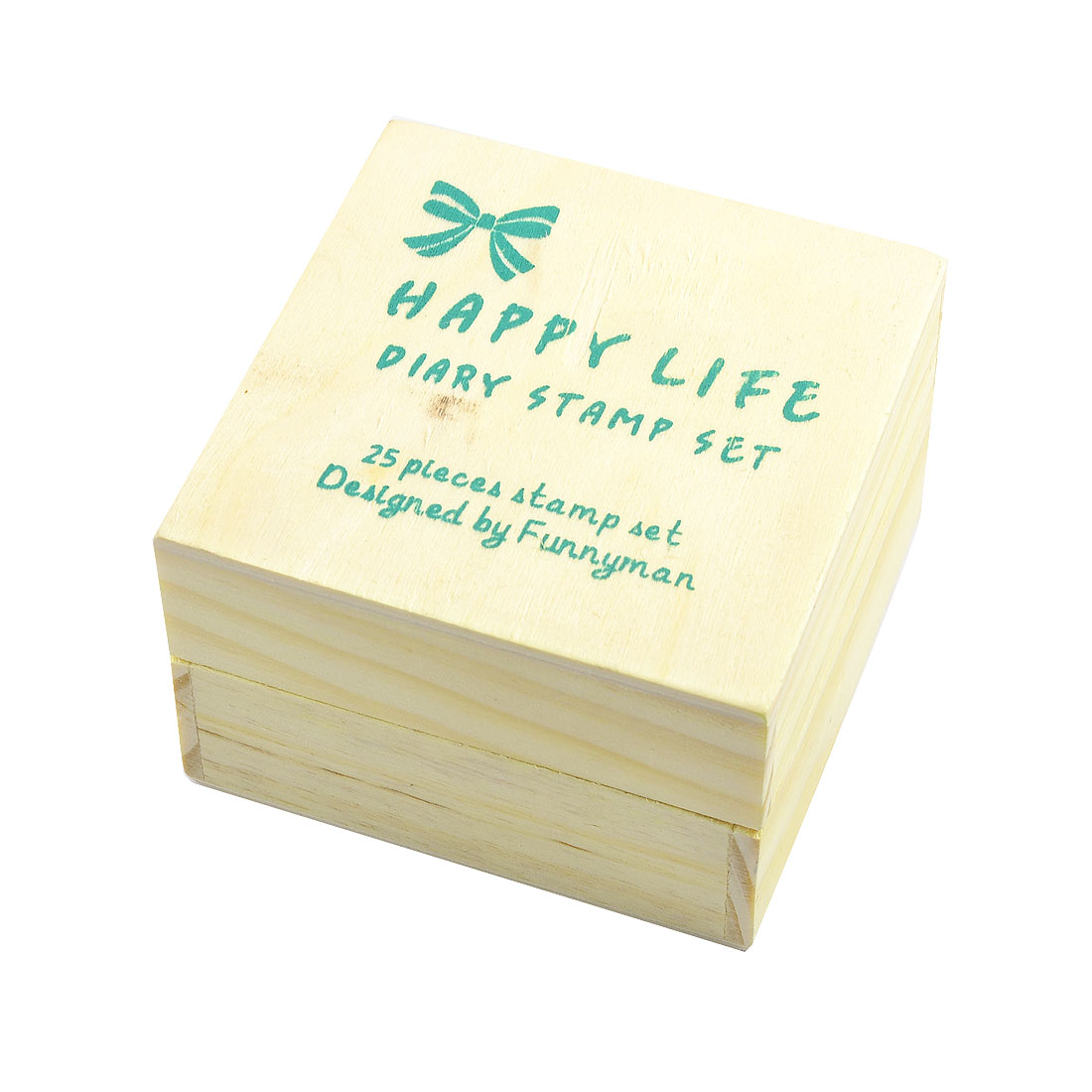 Stationery DIY Wooden Stamps Happy Life Diary Stamp Set 25 Pcs