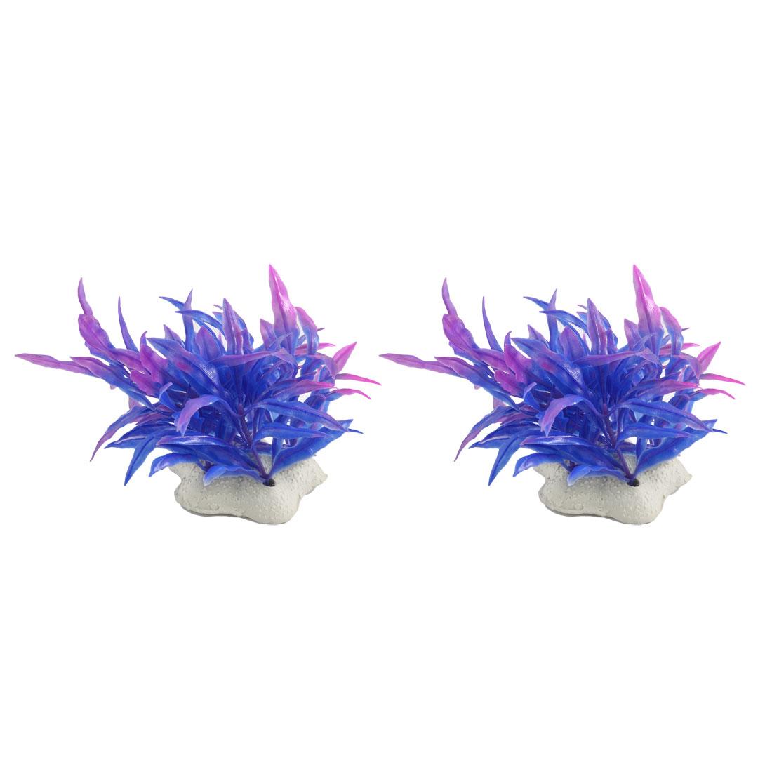 2 Pcs Underwater Blue Fuchsia Plastic Plants Ornament for Aquarium Fish Tank