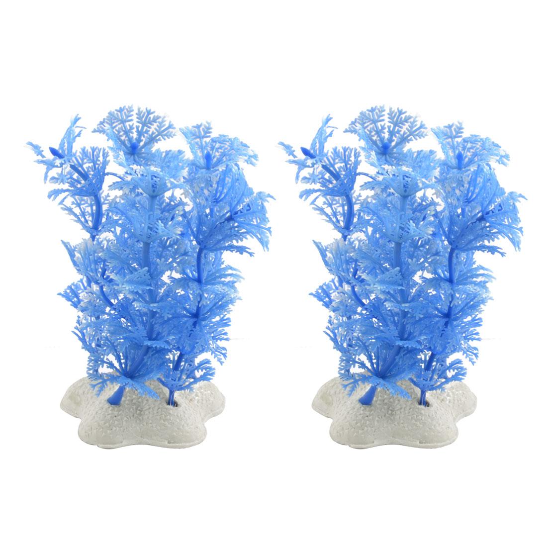 "2 Pcs 3.9"" Underwater Blue Plastic Plants Ornament for Aquarium Fish Tank"
