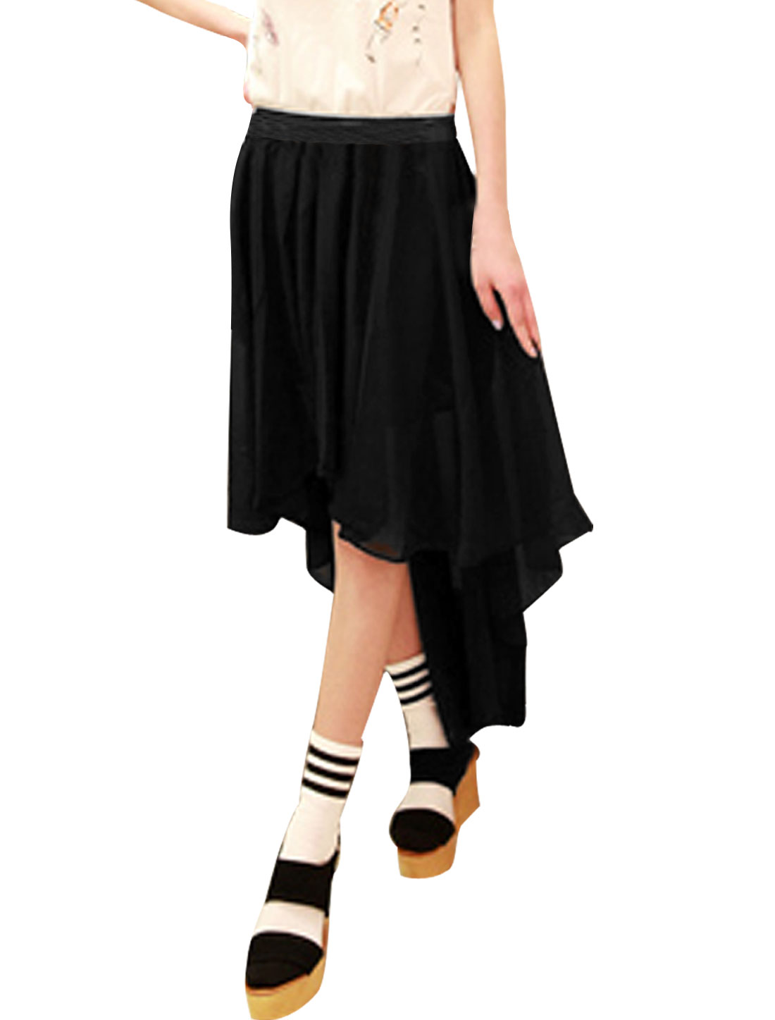 Woman Elastic Waistband High Low Hem Black Chiffon Skirt XS