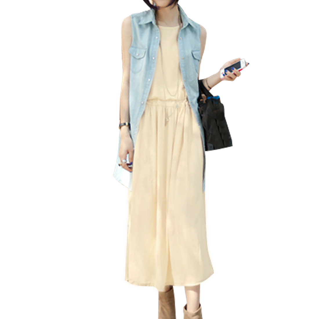 Woman Off White Color Scoop Neck Drawstring Waist Long Tank Dress XS