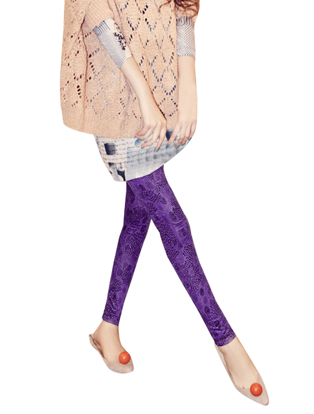 Lady Purple Form-fitting Leopard Prints Low Rise Summer Leggings XS