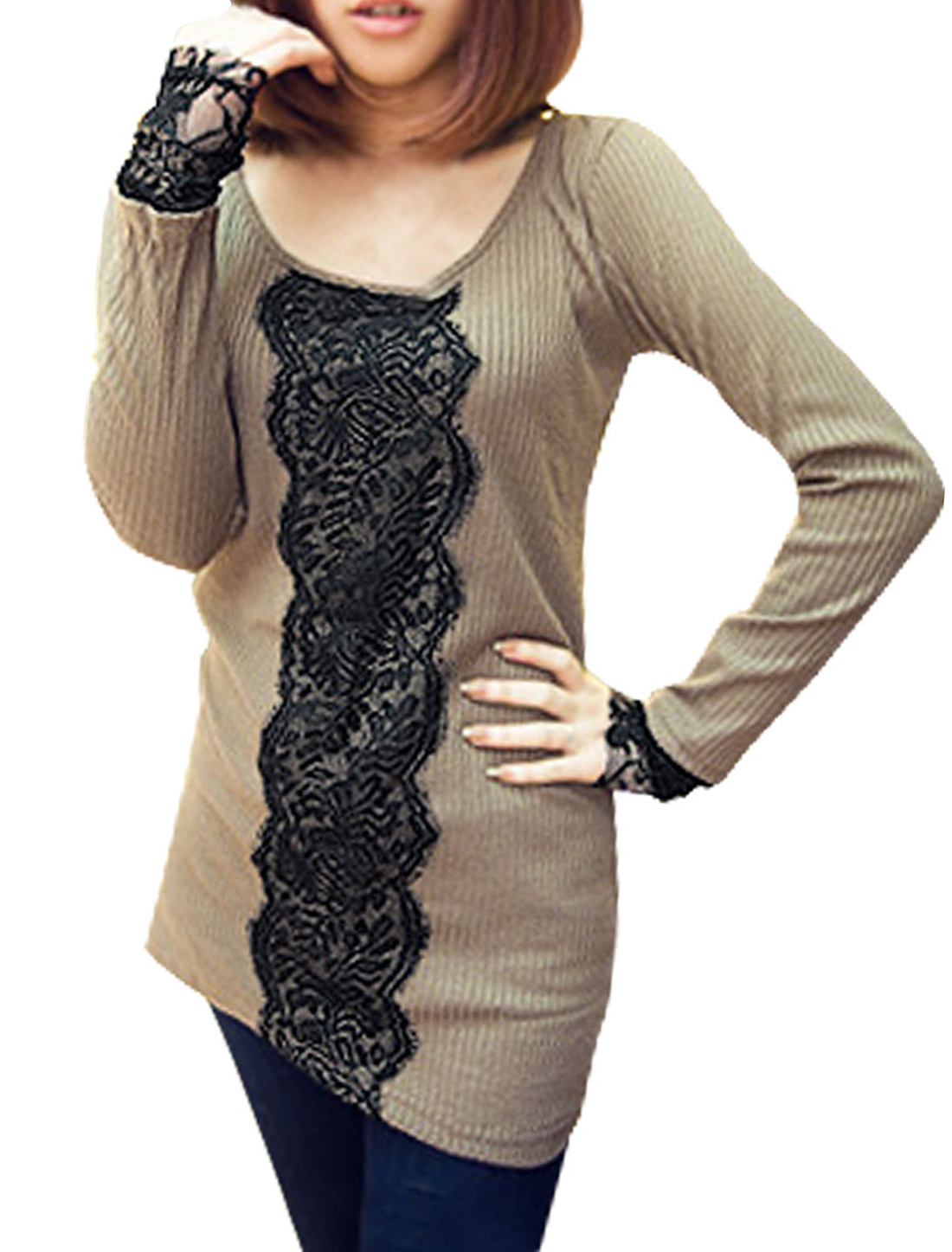 Lady Tan Color Lace Cuff Detail Stretchy Form-fitting Top Shirt XS