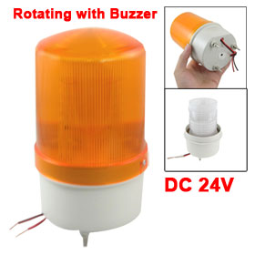 DC 24V Industrial Yellow LED Rotating Light Tower Lamp with Buzzer Siren