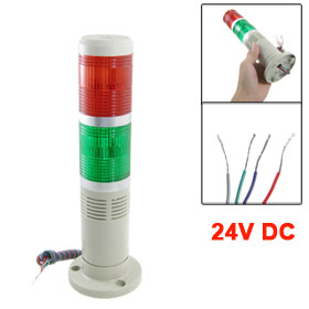24V DC Industrial Red Green Signal Tower Lamp Alarm Warning Light with Buzzer