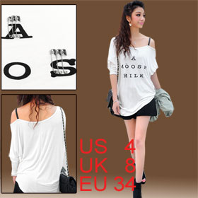 Ladies White Asymmetrical Neck Dolman Sleeve Letters Front Blouse S