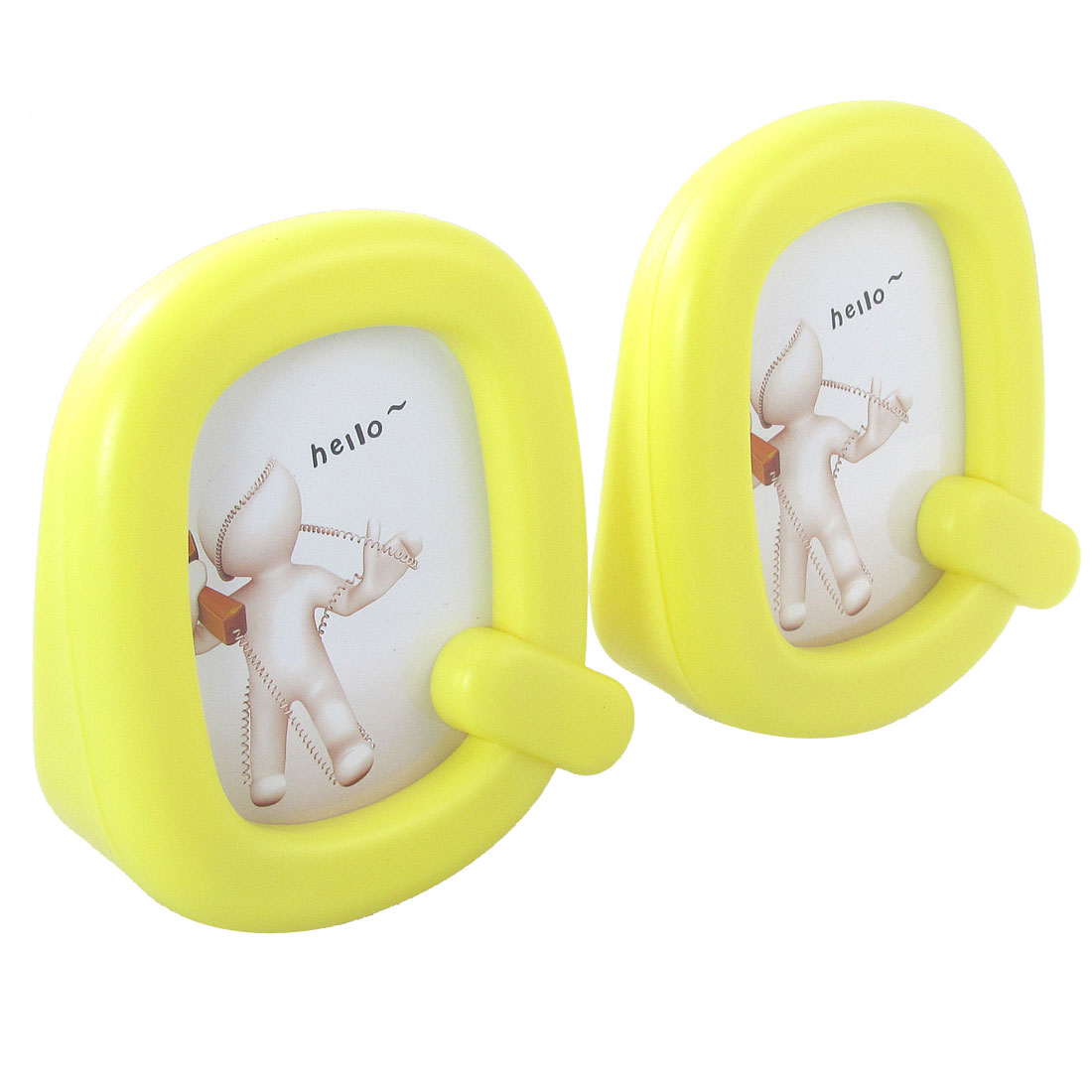 Office Desk Yellow Plastic Q Shaped Picture Frame 2 Pcs