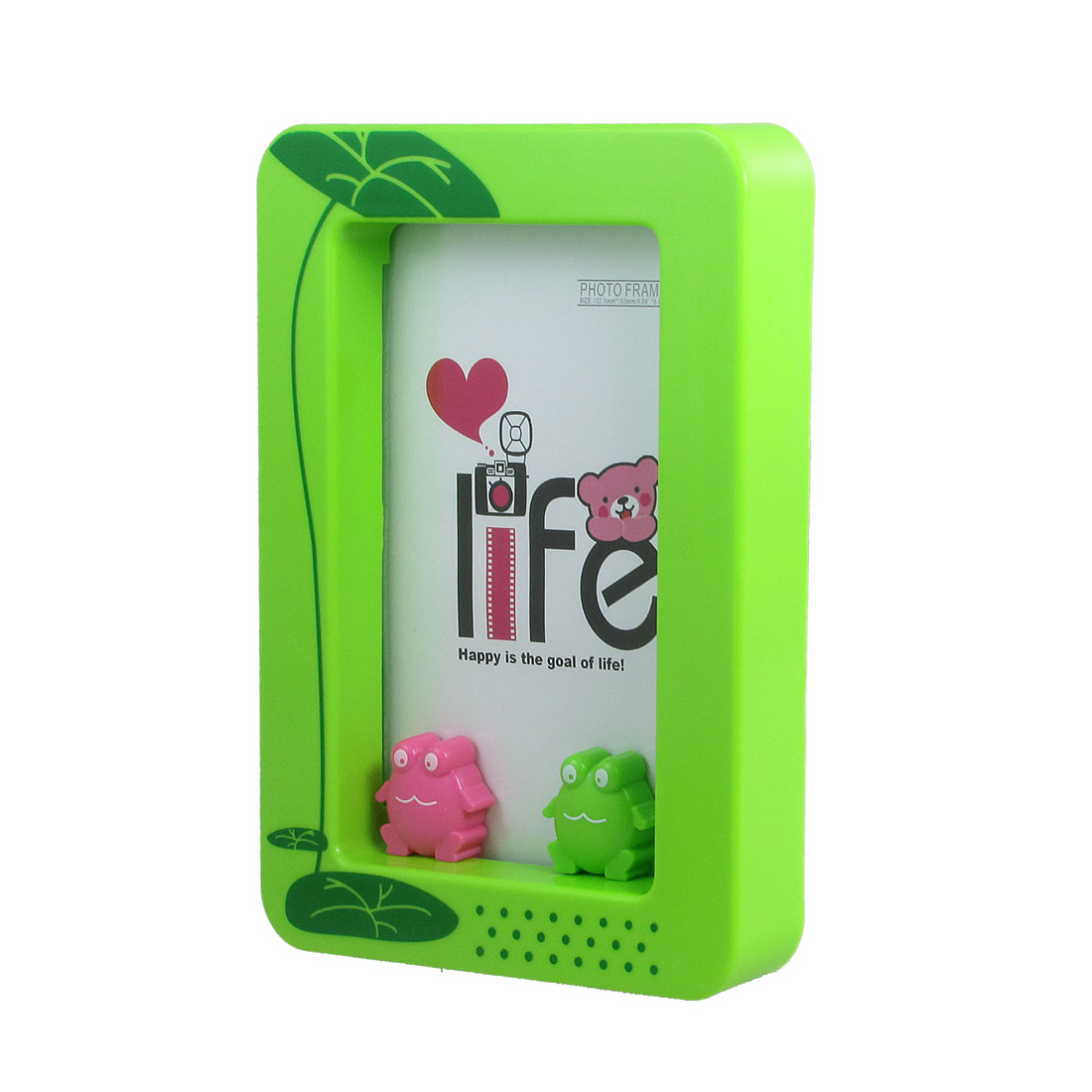 Clear Cover Lotus Leaf Pattern Rectangular Plastic Photo Frame Light Green
