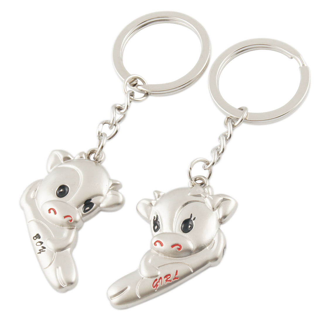 Lovers Couples Magnetic Cartoon Ox Split Ring Keyrings Silver Tone 2 Pcs