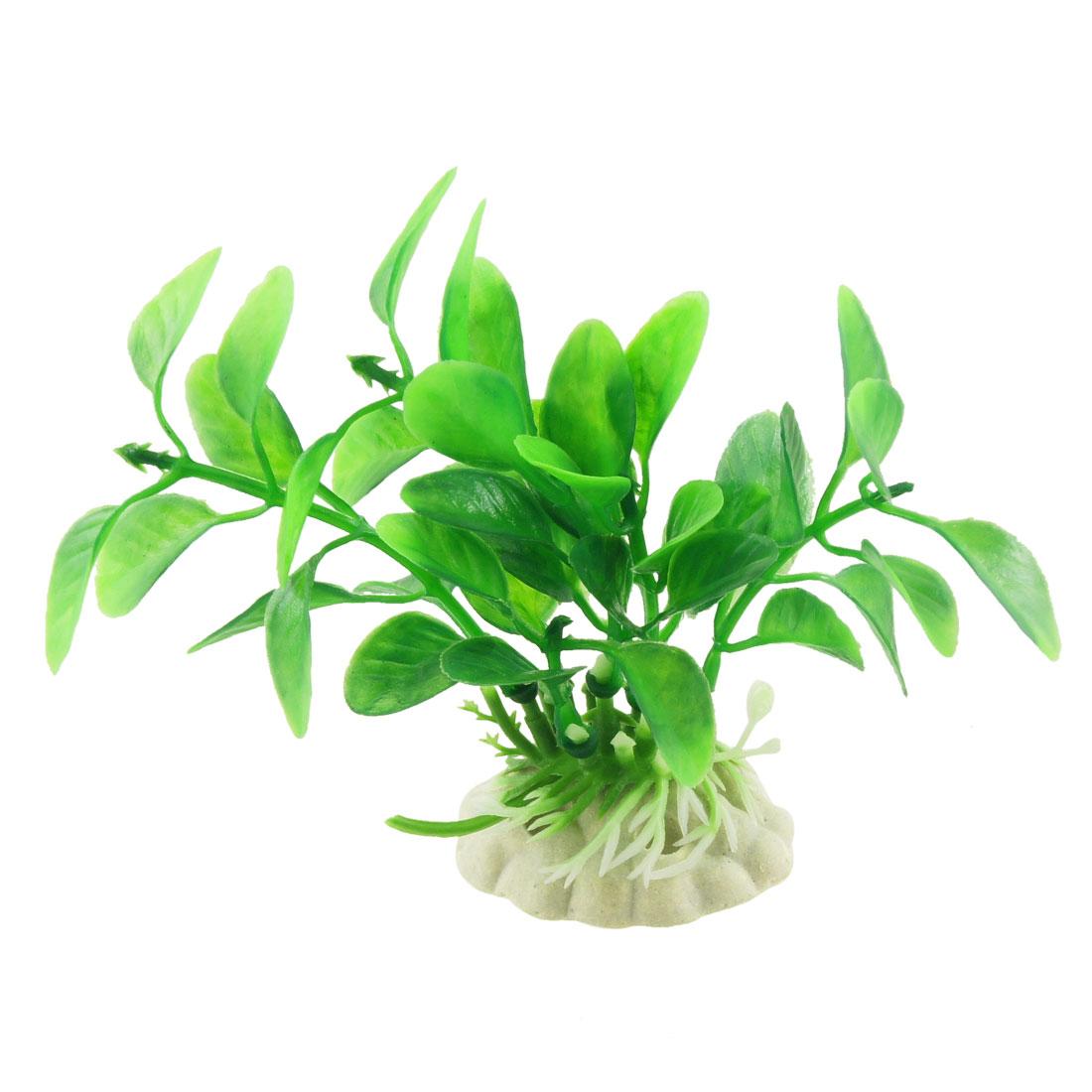 """Aquarium Fish Tank Simulated Green Plastic Plants Decor Ornament 3.5"""" 3 Pcs"""