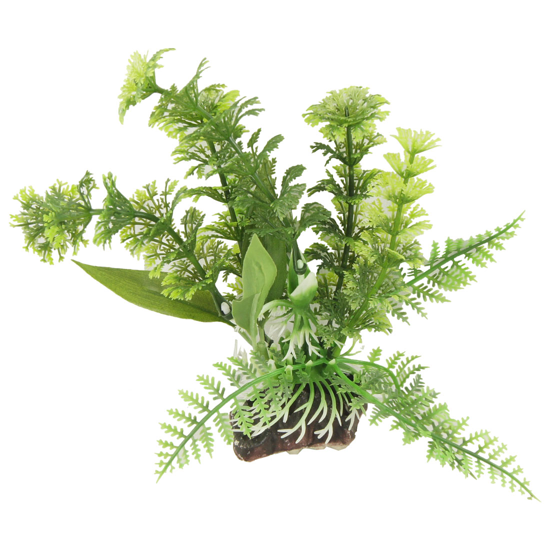 Plastic Snowflake Leaves Ceramic Base Aquarium Plant Ornament Green
