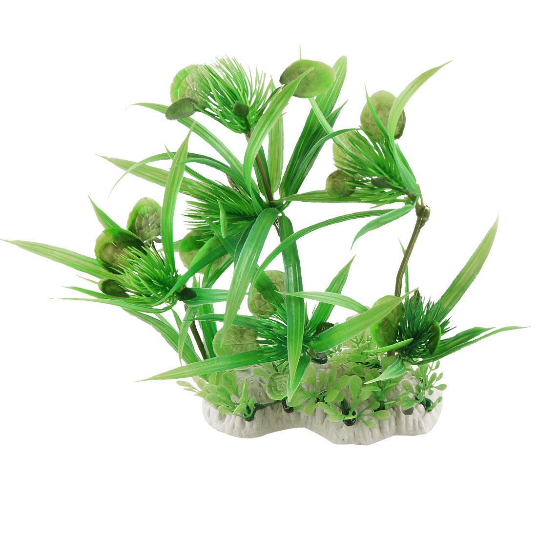 "Ceramic Base Lifelike Fish Tank Plastic Plant Decor Aquascaping Green 7.7"""