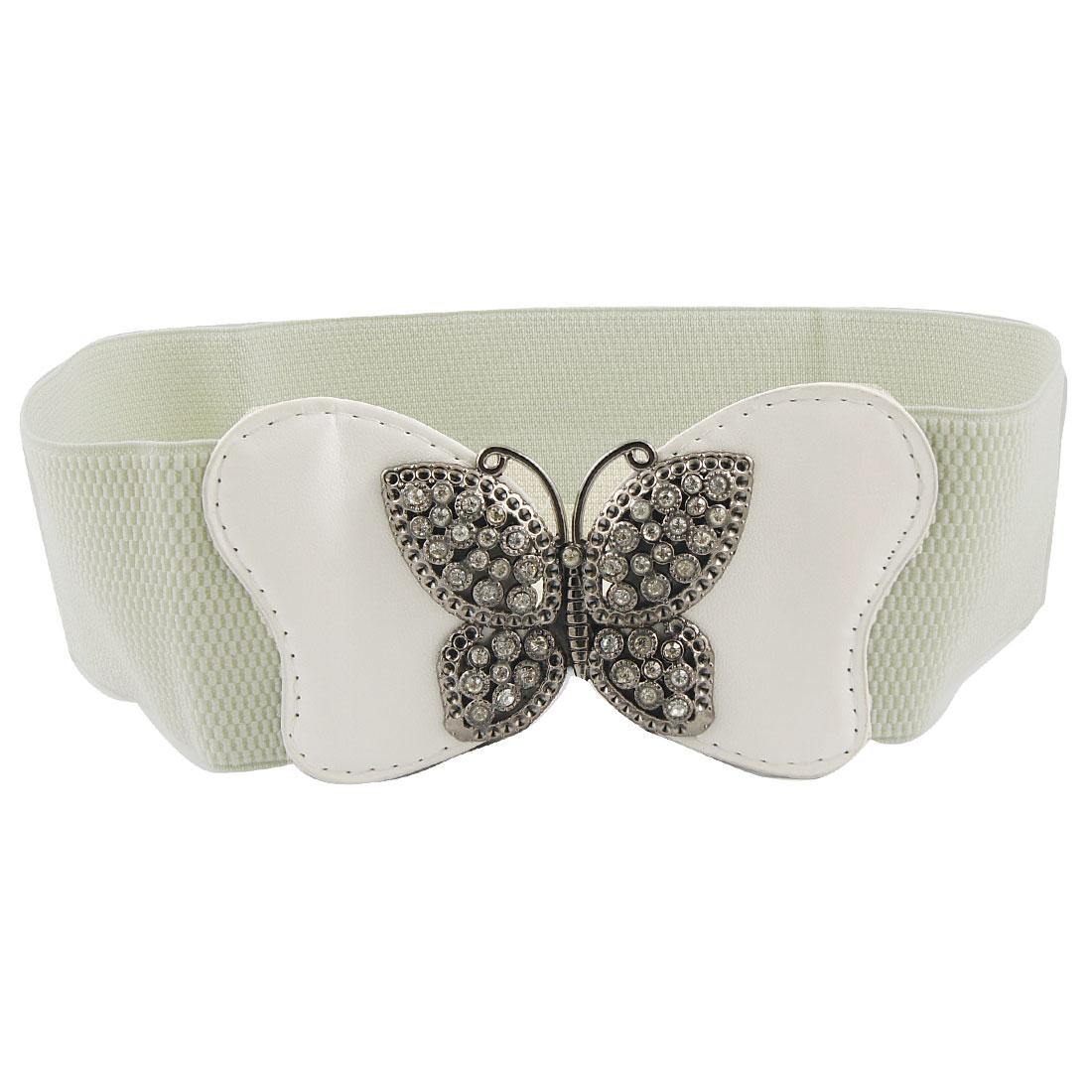 Metal Butterfly Buckle Faux Rhinestone Decor Elastic Waist Belt White