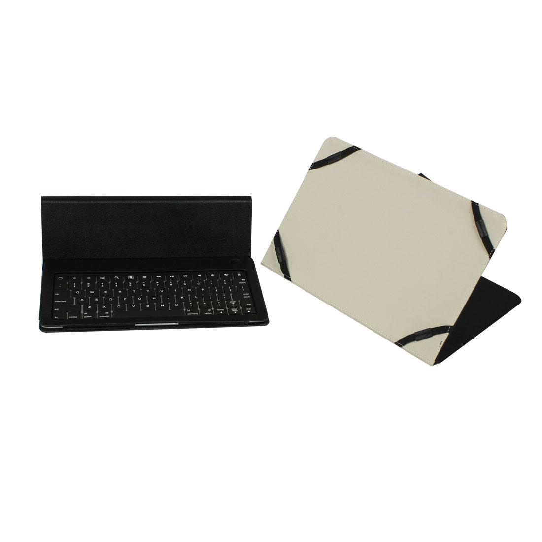 Black Faux Leather Bag 78 Keys Aluminum Alloy Wireless bluetooth Keyboard + Case