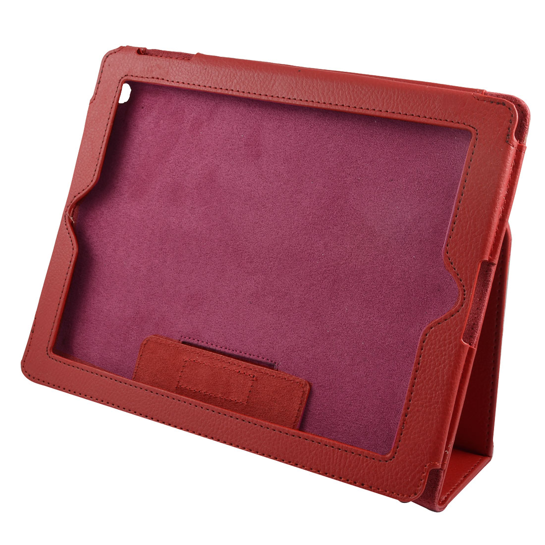 Red Faux Leather Hook Loop Fastener Cover Pouch for iPad 2 iPad 3rd