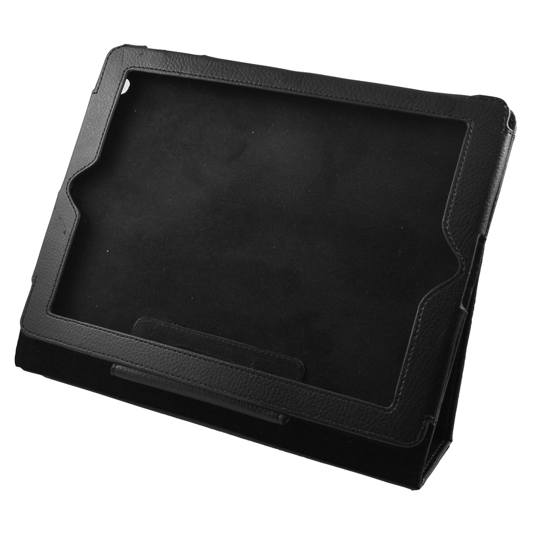 Black Faux Leather Hook Loop Fastener Cover Pouch for iPad 2nd 3