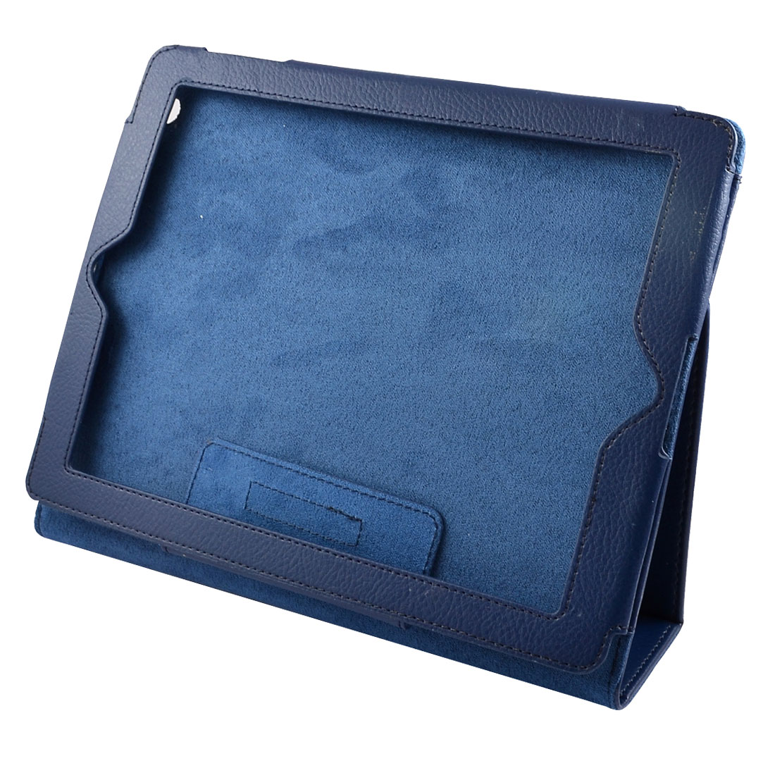 Faux Leather Bulit-in Magnet Case Protector Navy Blue for iPad 2 3rd