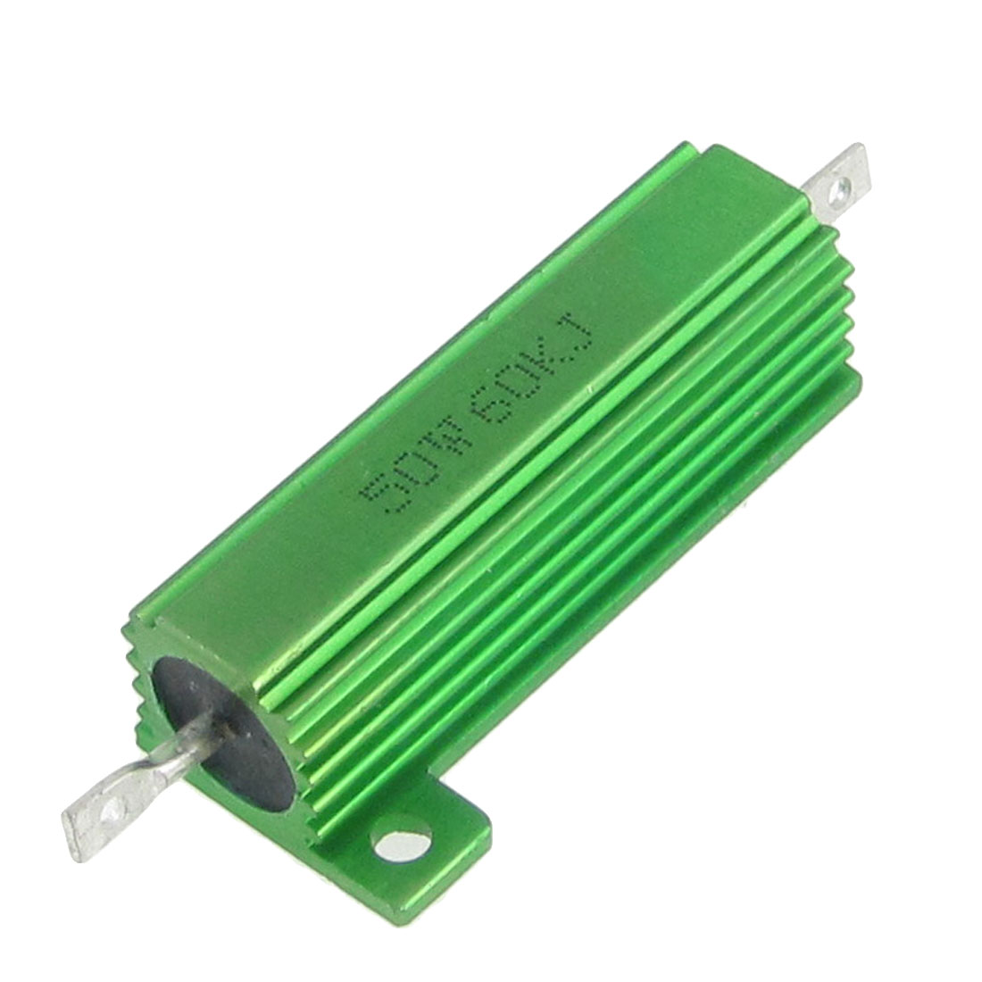2 Pcs Green Aluminum Housed Screw Tabs Mounted 50W 5% 60K Ohm Resistors