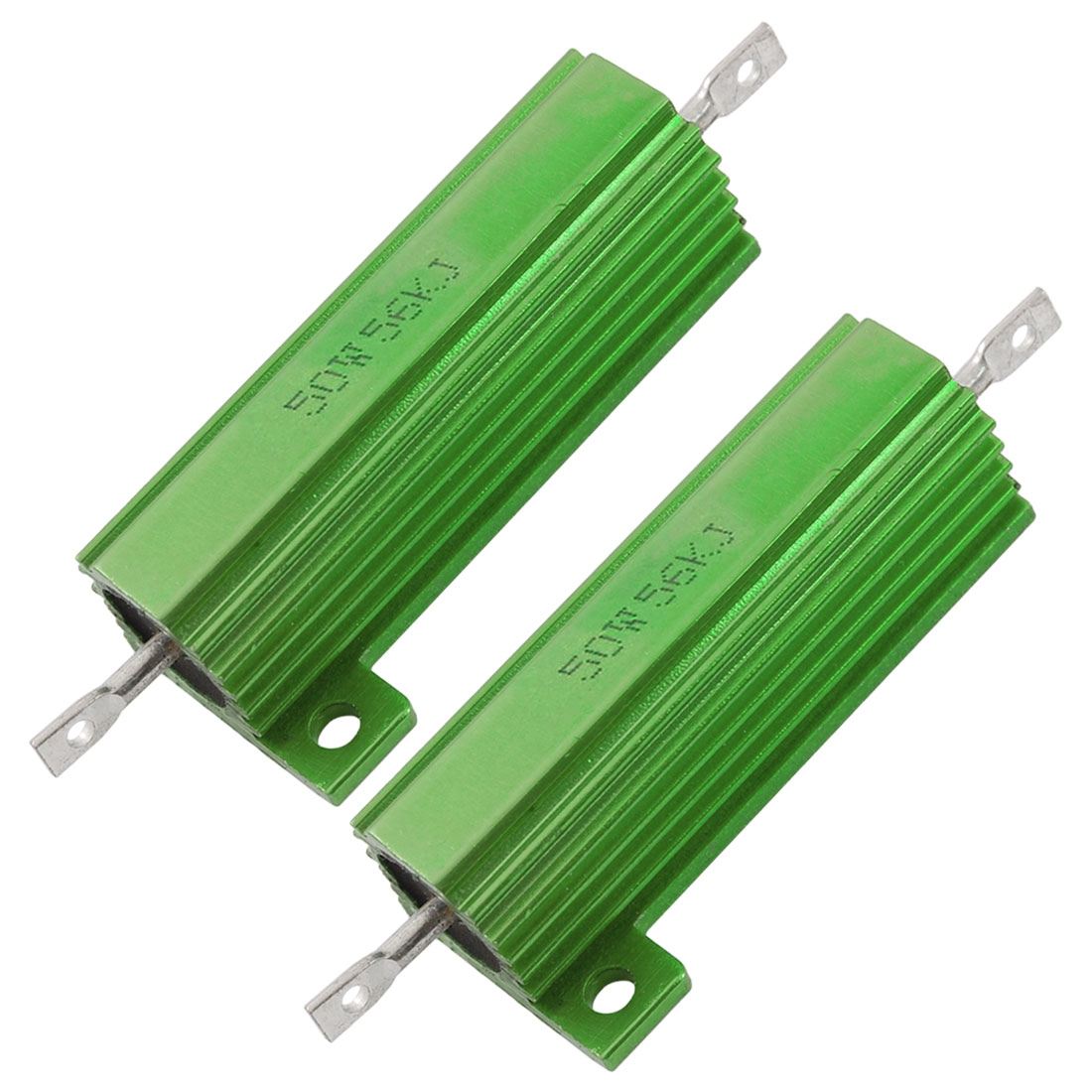 2 Pcs Green Aluminum Shell Wire Wound 50W 5% 56K Ohm Resistance Resistors