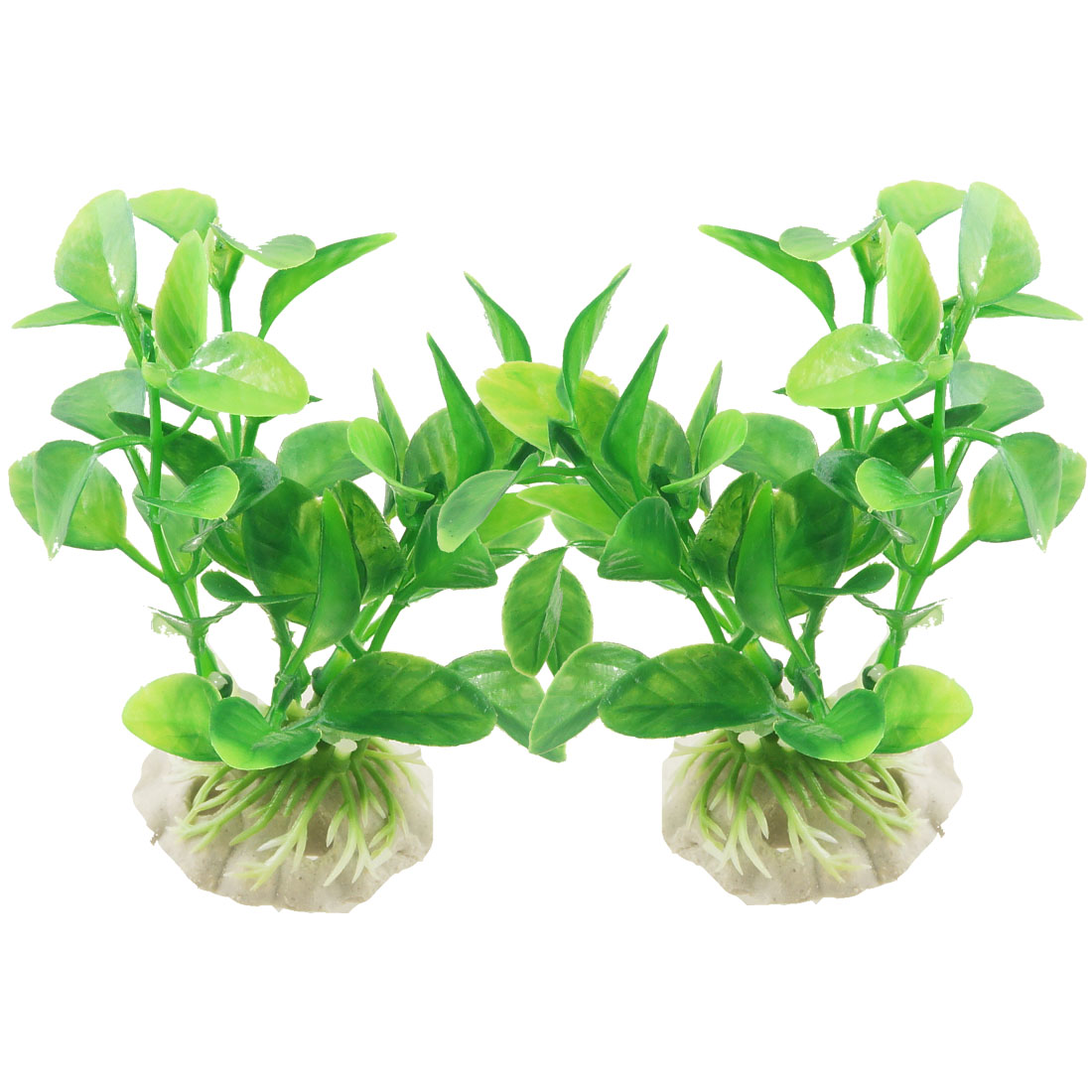 Ceramic Base Artifical Plastic Aquarium Fish Tank Ornament Plant Grass 2 Pcs
