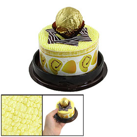 Clear Plastic Cover Yellow Terry Adorn Round Style Cake Towel Decor