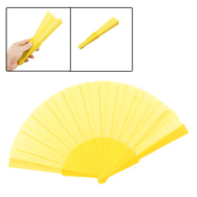 "Yellow Plastic Frame Nylon Fabric 9"" Long Foldable Hand Fan Gift"