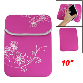 "10"" 10.1"" 10.2"" Fuchsia Flower Neoprene Laptop Sleeve Bag for Apple iPad 2 Tablet PC"