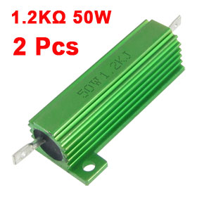 Green Aluminum Housed 50 Watt 5% 1.2K Ohm Resistors Resistance 2 Pcs