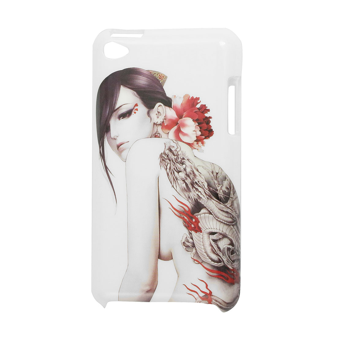 White Lady Printed IMD Shell Back Case for iPod Touch 4