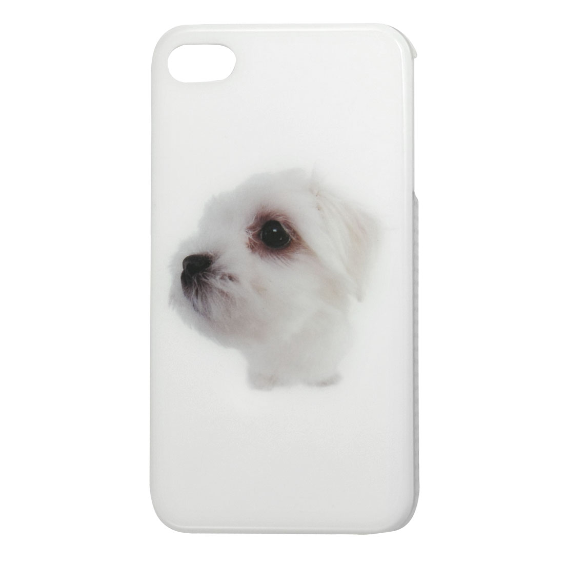 White Dog Print Hard Plastic IMD Back Shell Case for iPhone 4 4G 4S