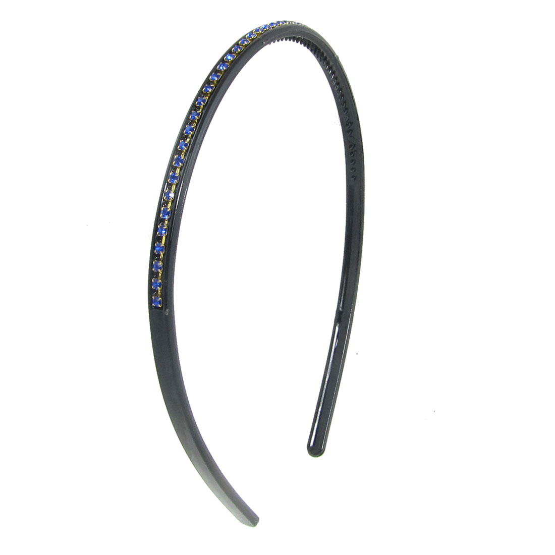 Blue Rhinestones Decor Black Plastic Hairband for Ladies