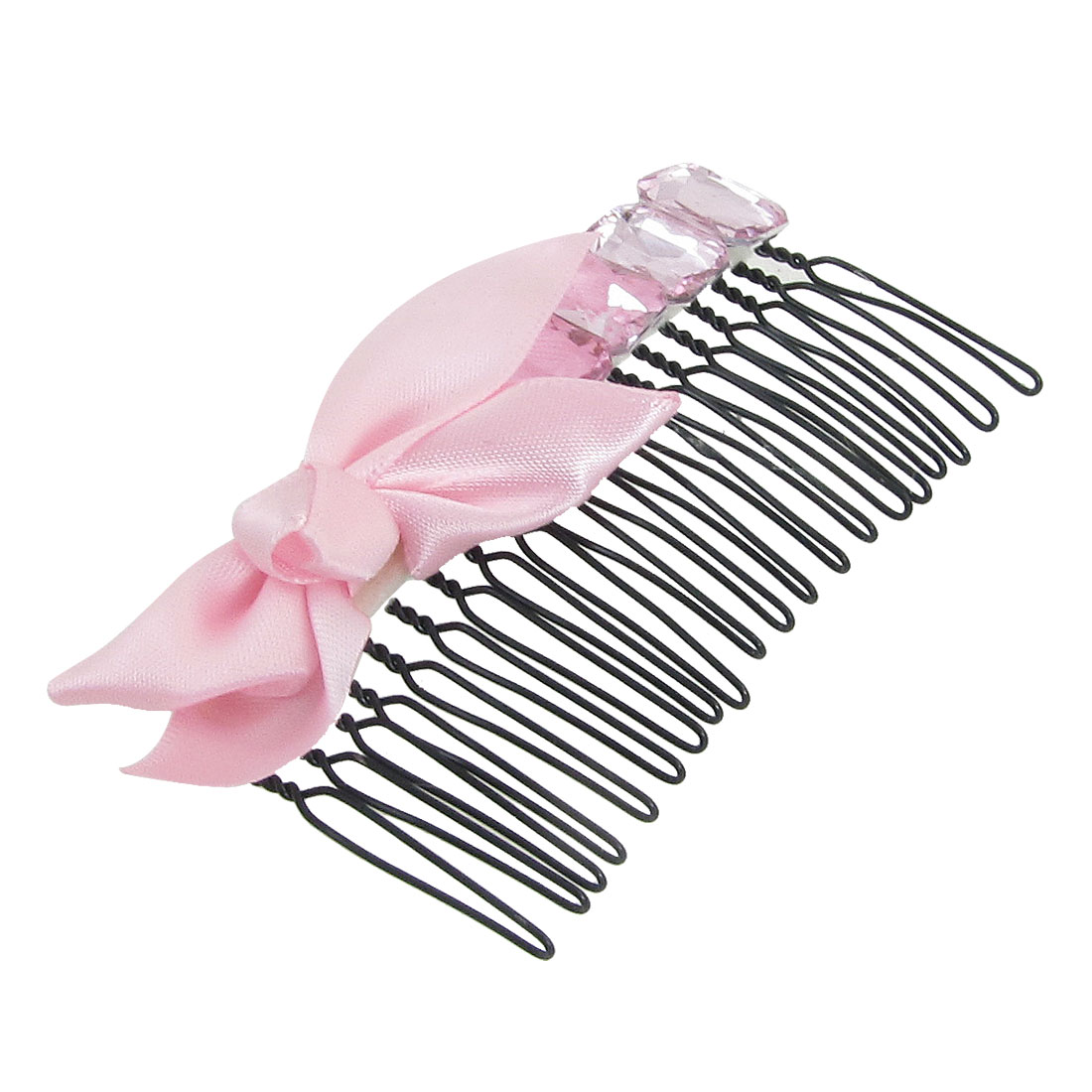 Pink Polyester Bowknot Decor Hair Comb Clip Clamp for Ladies Dtjlt