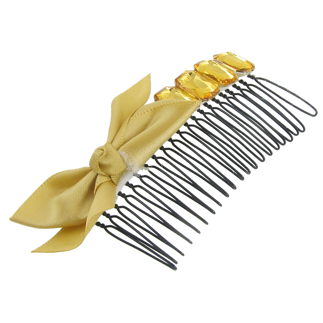 Yellow Polyester Bowknot Decor Hair Comb Clip Clamp for Ladies
