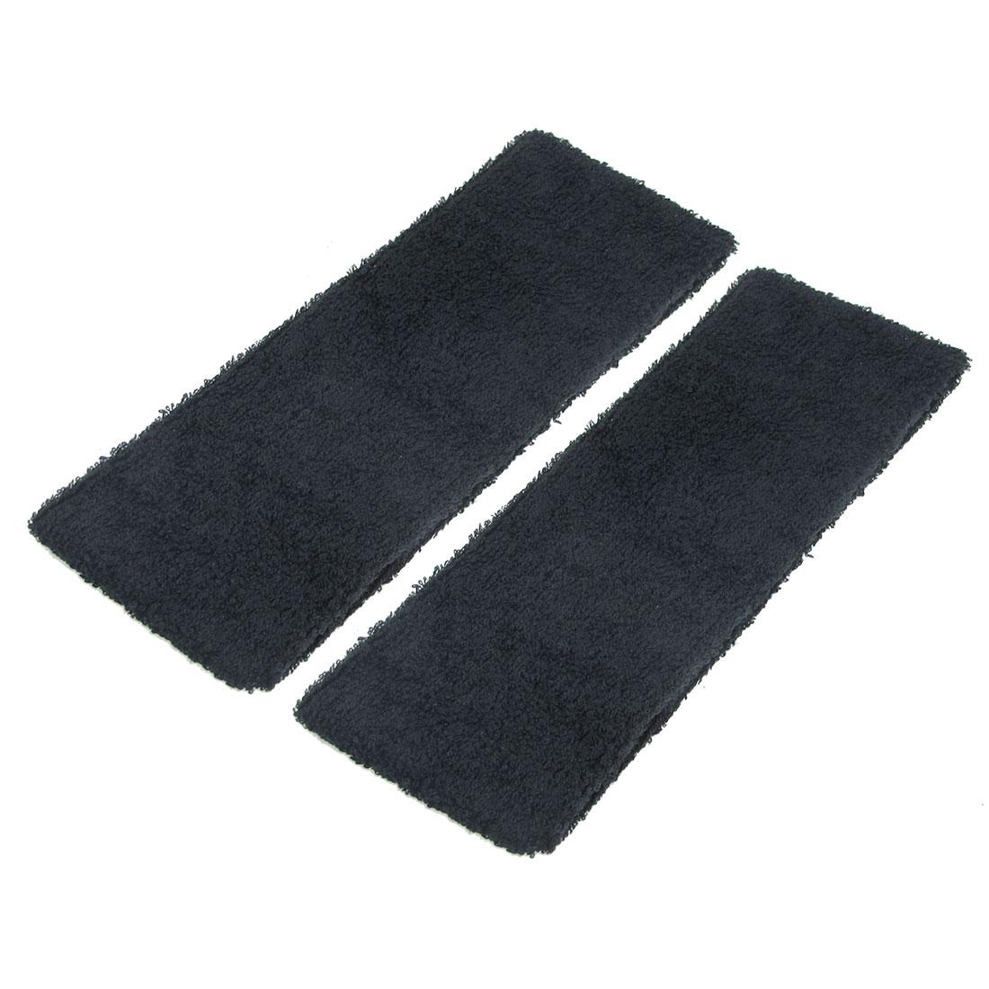 Terry Cloth Elastic Athletic Sport Hairband Headband Black 7cm Wide 2 Pcs