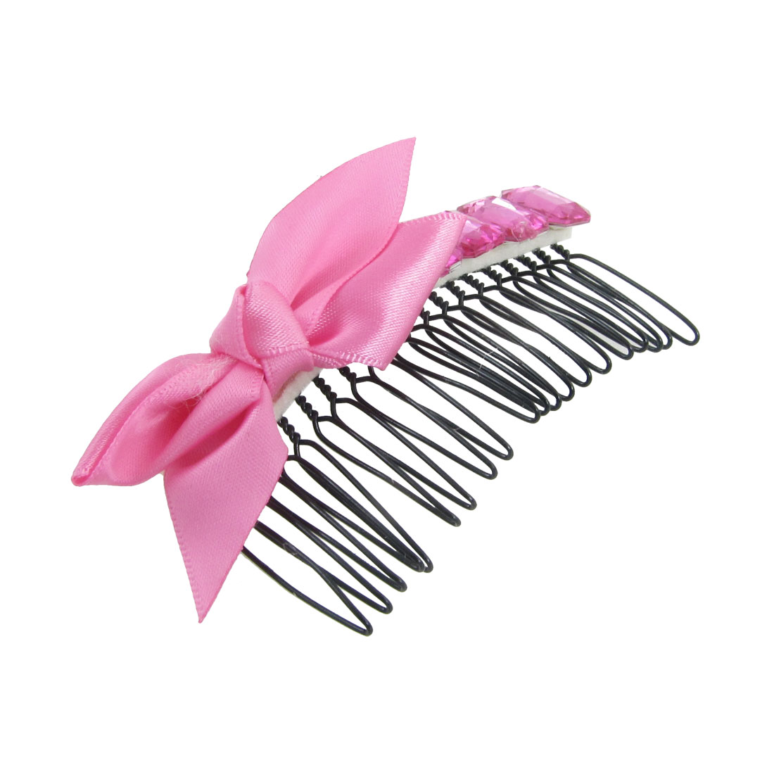Fuchsia Polyester Bowknot Decor Hair Comb Clip Clamp for Ladies